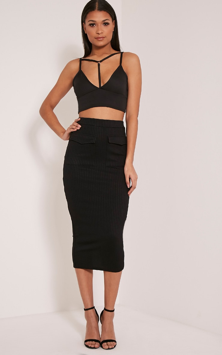 Esta Black Pocket Ribbed Longline Midi Skirt 1