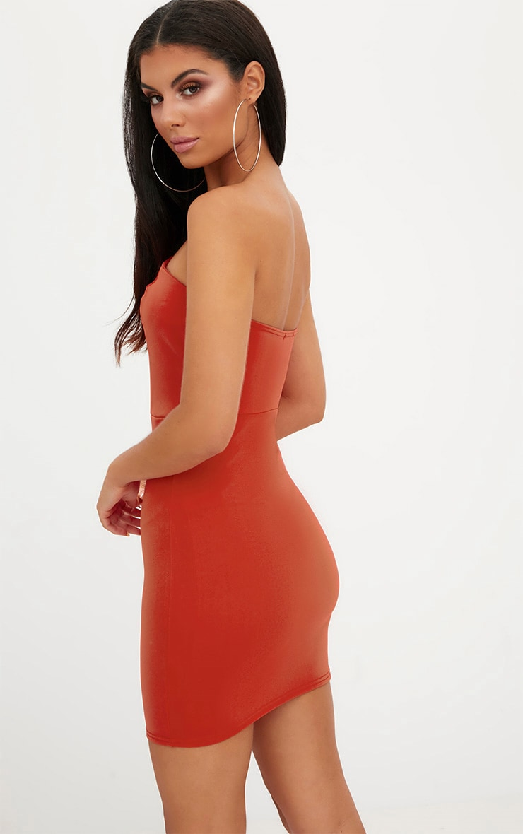 Tomato Red V Plunge Bandeau Bodycon Dress 2