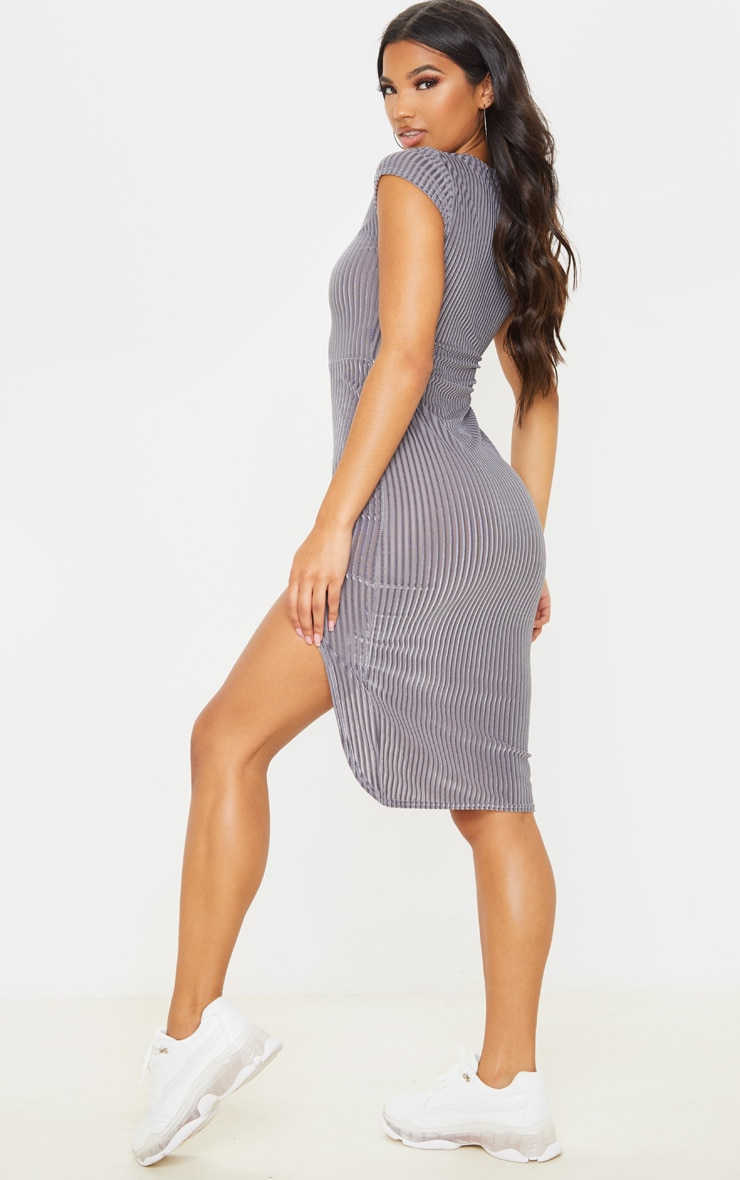 Grey Velvet Rib Split Midi Dress 2
