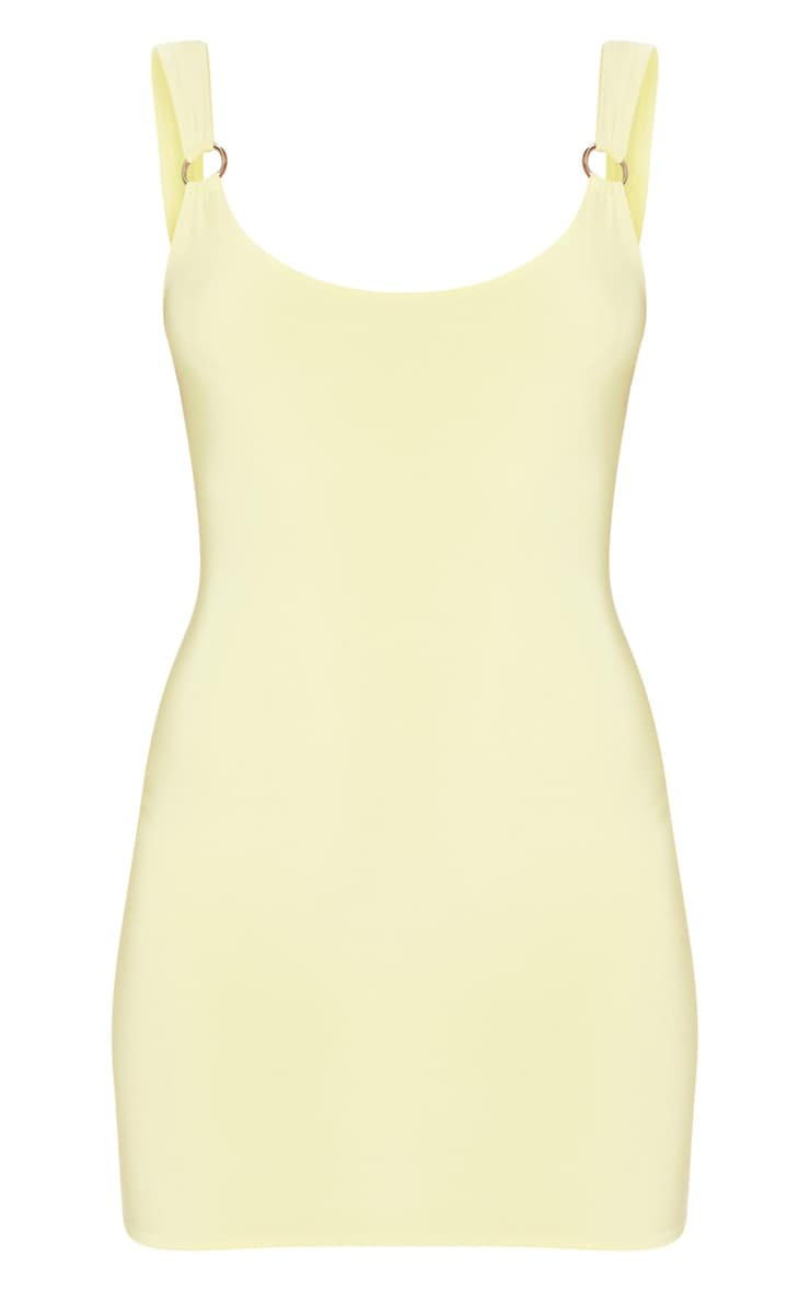 Yellow Slinky Ring Detail Square Neck Bodycon Dress 1