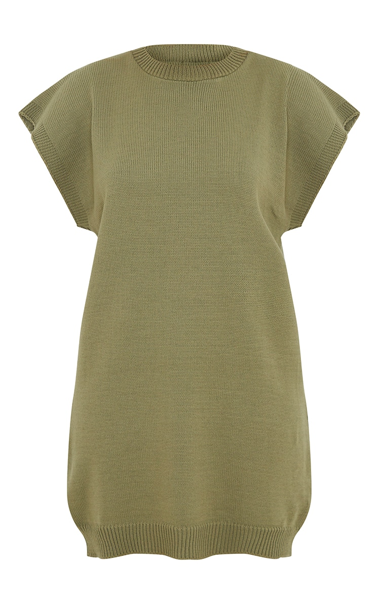 Khaki Wide Shoulder Sleeveless Knitted Sweater Dress 5