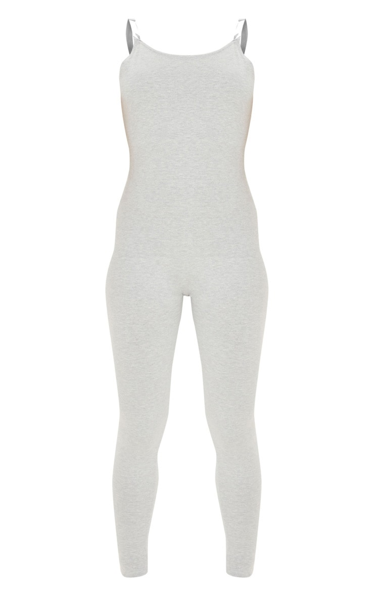 Grey Seamless Cotton Strappy Jumpsuit 3