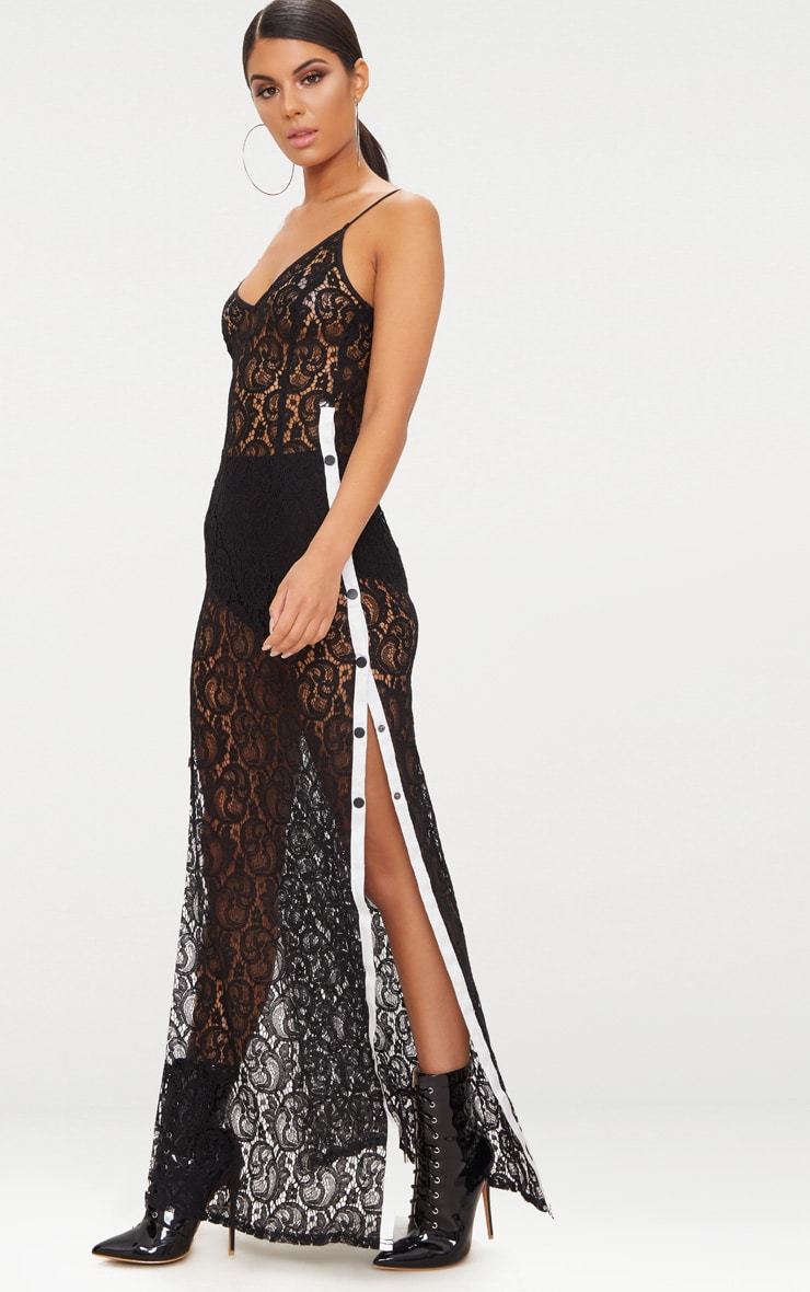 Black Strappy Sheer Lace Popper Side Maxi Dress 4