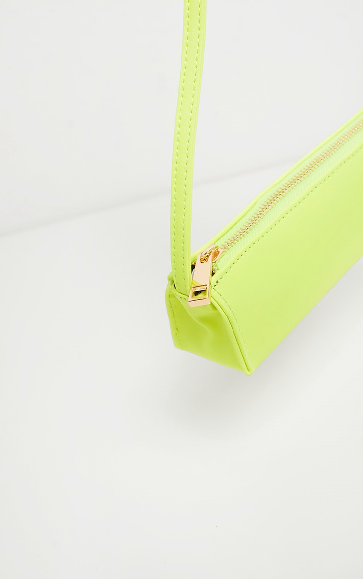 Neon Lime PU Thin Baguette Bag  2