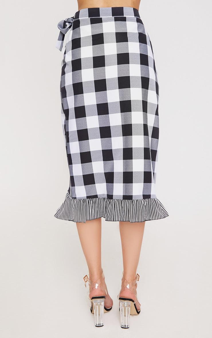 Black Contrast Frill Hem Gingham Midi Skirt 4