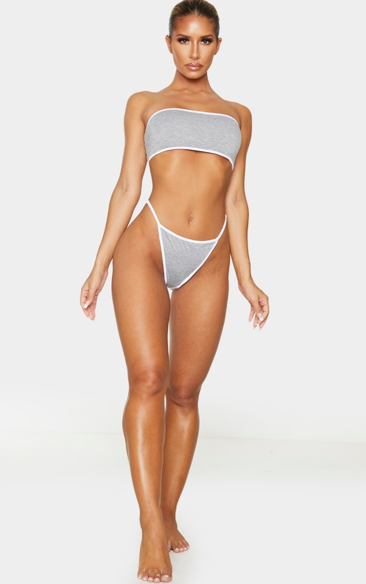 Grey Contrast Trim Basic Bandeau Lingerie Set 3