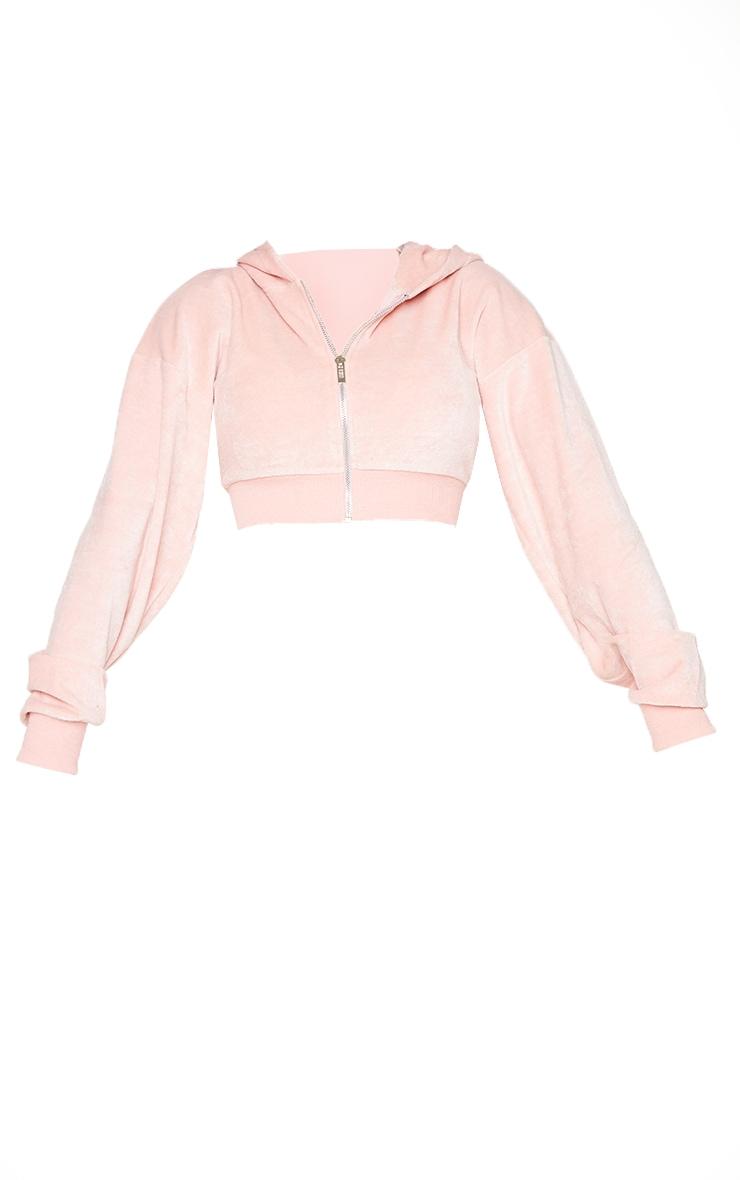 Shape Baby Pink Velour Diamante Graphic Cropped Hooded Zip Sweatshirt 5