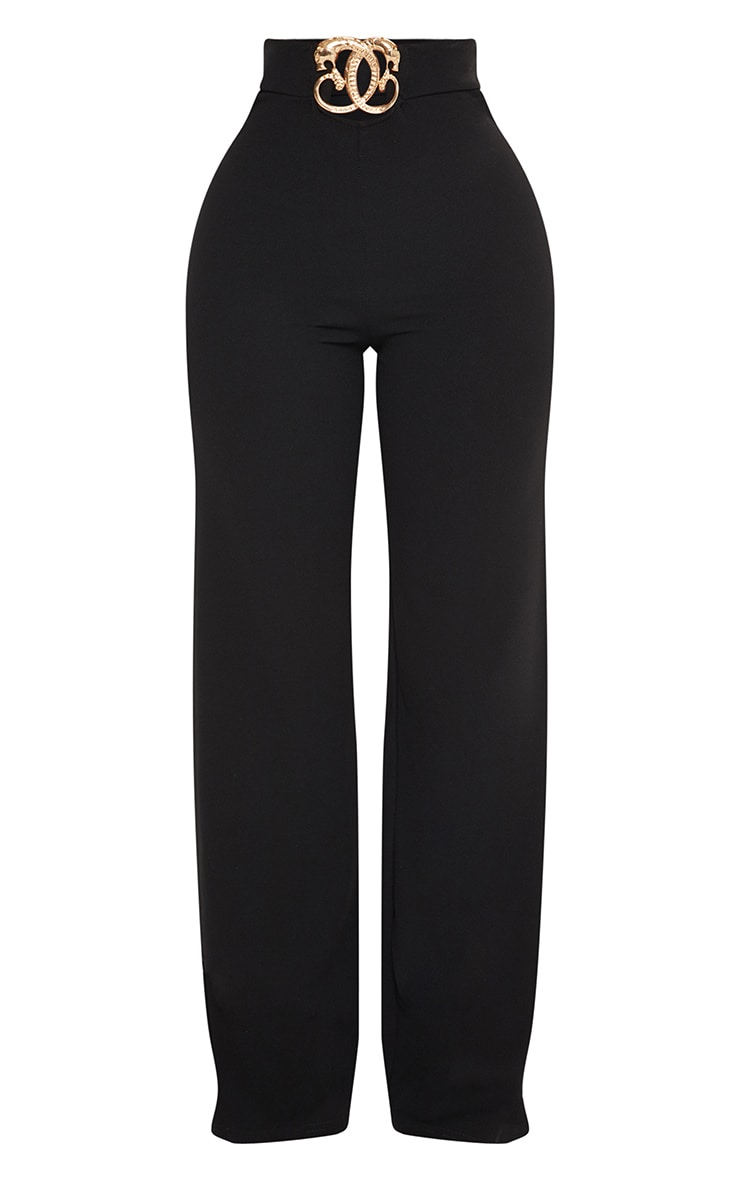 Shape Black Belt Trim Wide Leg Trousers 3