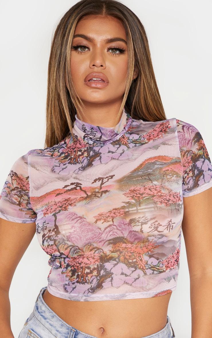 Lilac Oriental Mesh Printed Crop Top 2