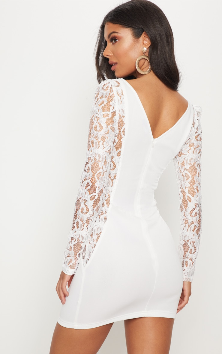 White Lace Insert Cup Bodycon Dress 2