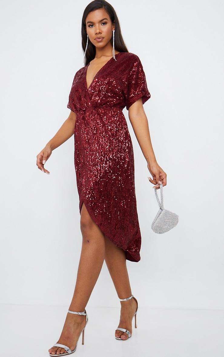 Burgundy Sequin Short Sleeve Wrap Midi Dress 3