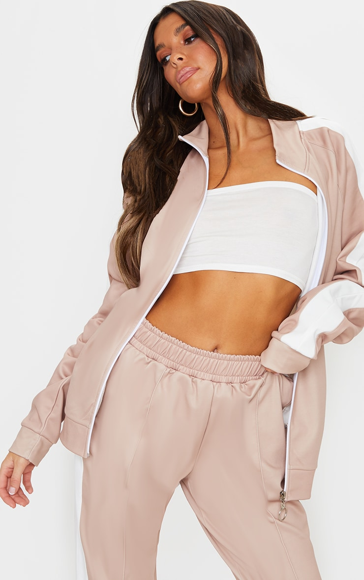 Taupe Cut Out Shoulder Detail Stripe Side Zip Through Sweat Top 1