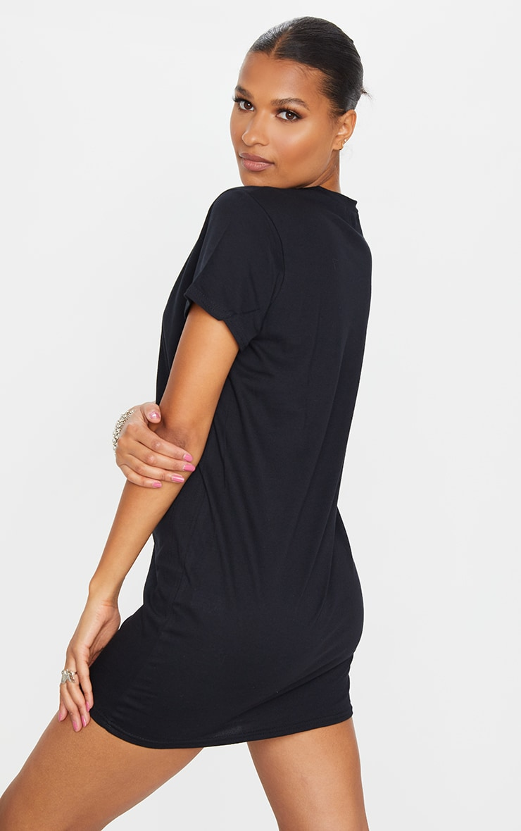 Black Heart Embroidered T Shirt Dress 2