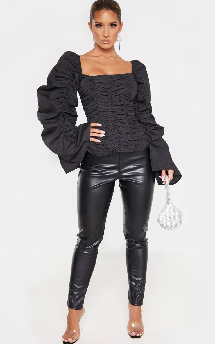Black Woven Ruched Oversized Sleeve Long Top 4
