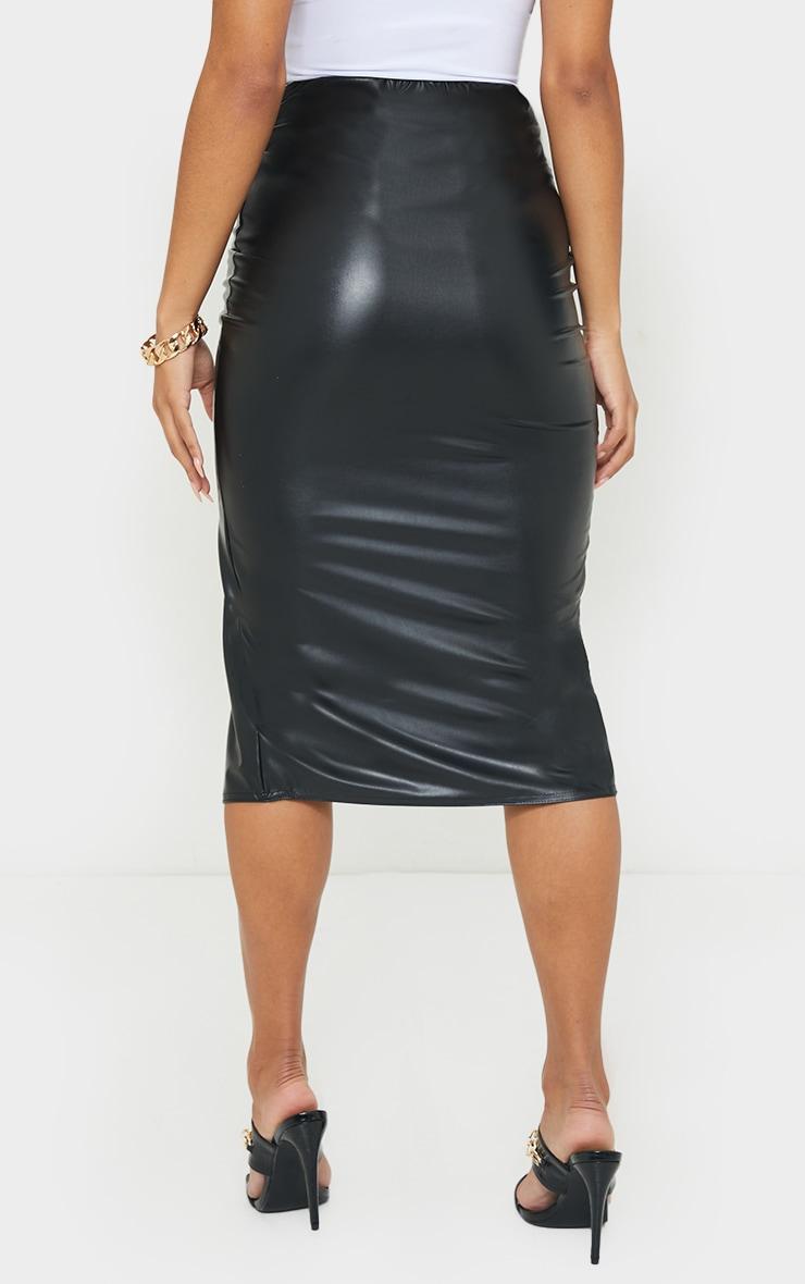 Black Faux Leather Twist Front Midi Skirt 3
