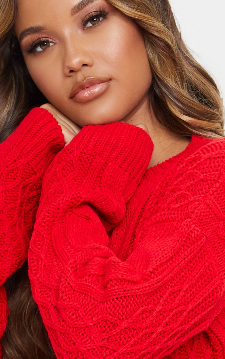 Red Slouchy Cable Knit Sweater 5
