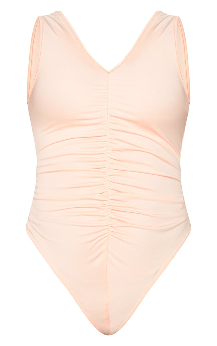 Nude Slinky Ruched Front Plunge Bodysuit 5