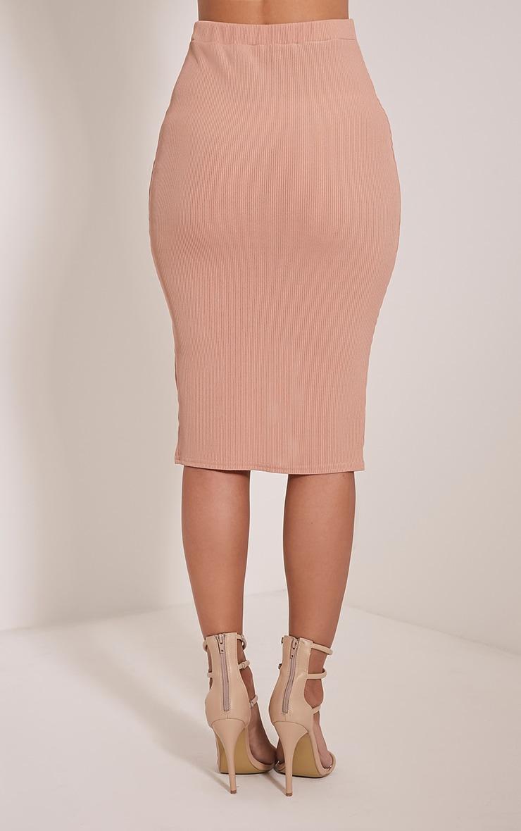 Sarie Blush Ribbed Zip Front Midi Skirt 5