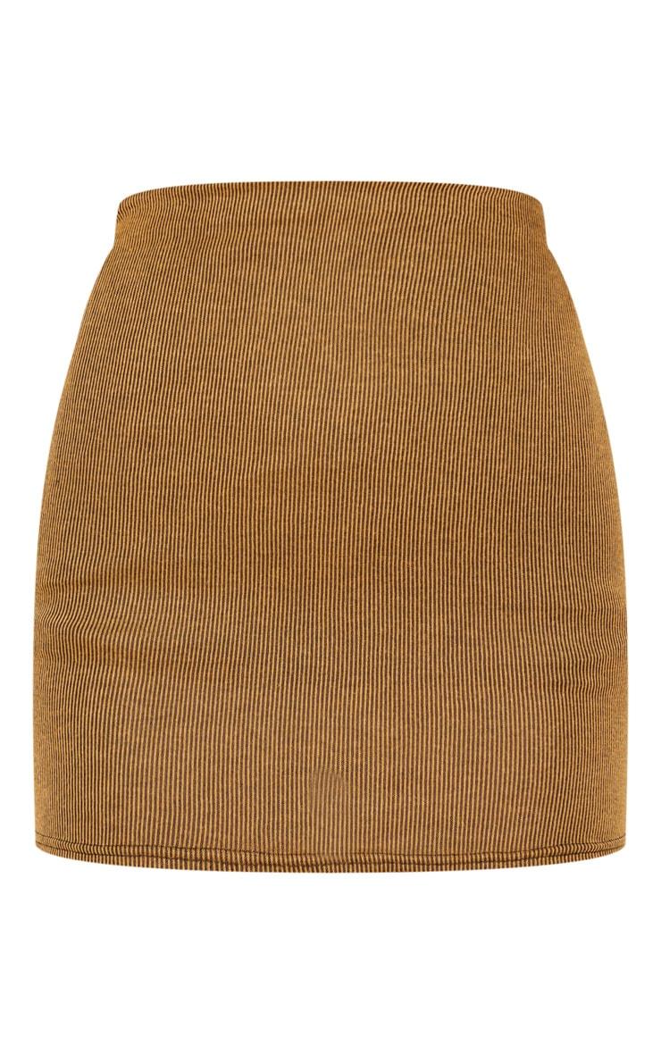 Camel Contrast Rib Mini Skirt 3