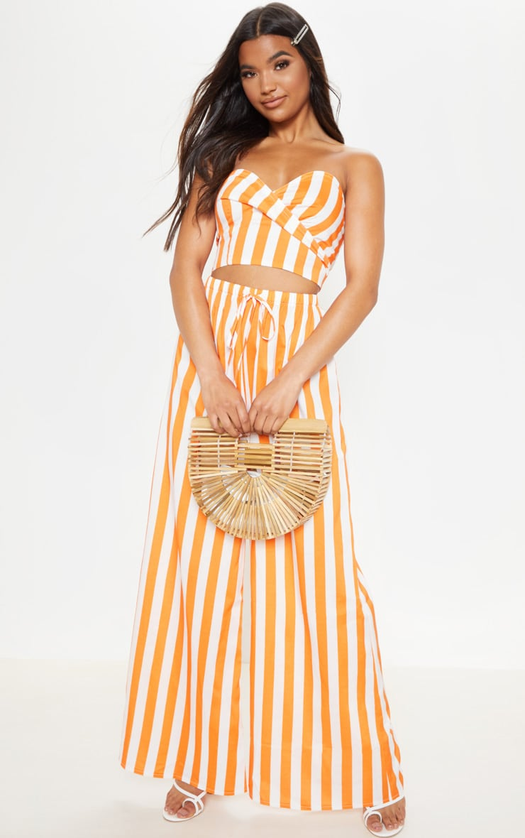 Bright Orange Stripe Print Bandeau Crop Top 4