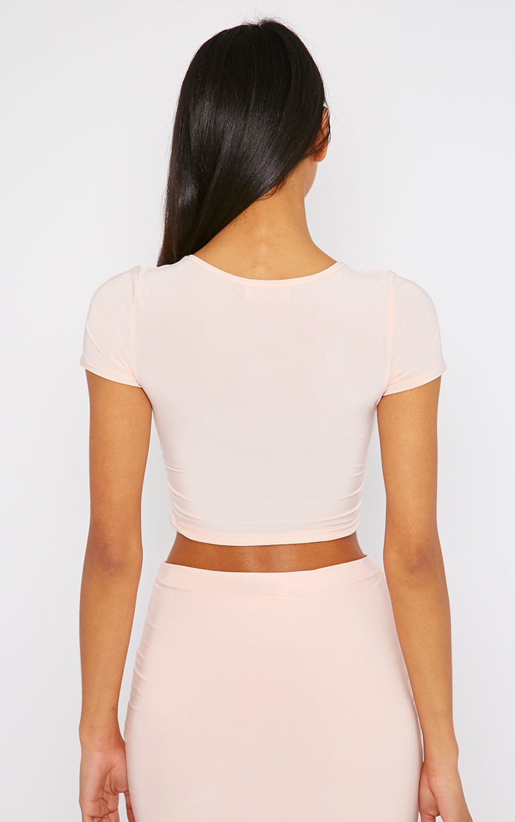 Arabella Nude Slinky Cross Over Crop Top 2