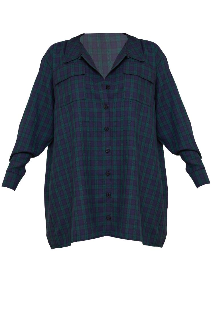 Navy Check Print Double Pocket Detail Shirt Dress 5