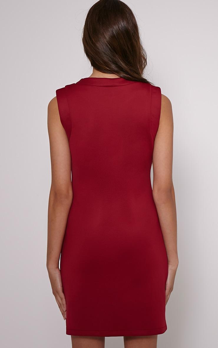Simone Burgundy Zip Front Shift Dress 2
