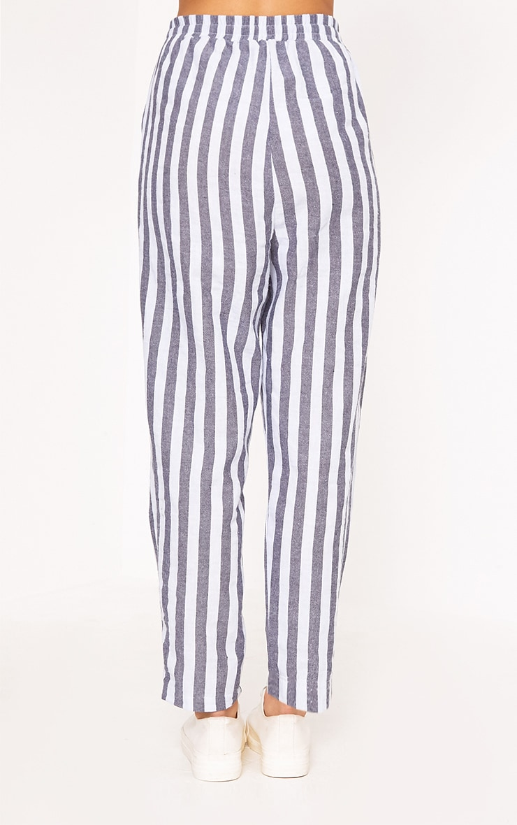 Diya Blue Stripe Casual Trousers 4