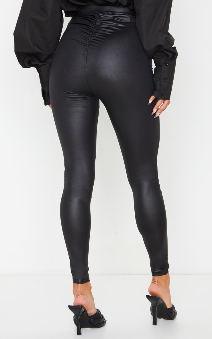 Black Ruched Bum Coated Leggings 3