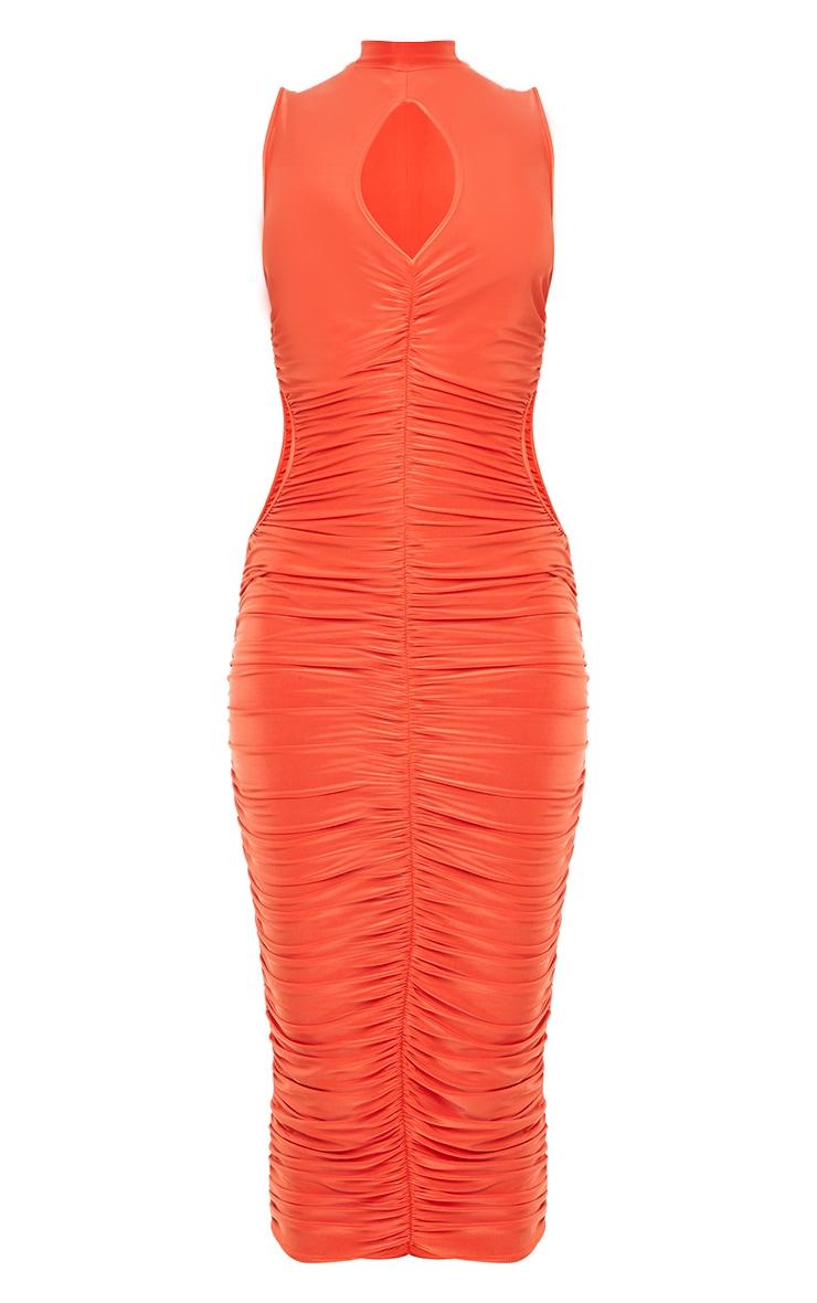 Orange Slinky High Neck Sleeveless Ruched Midaxi Dress 5