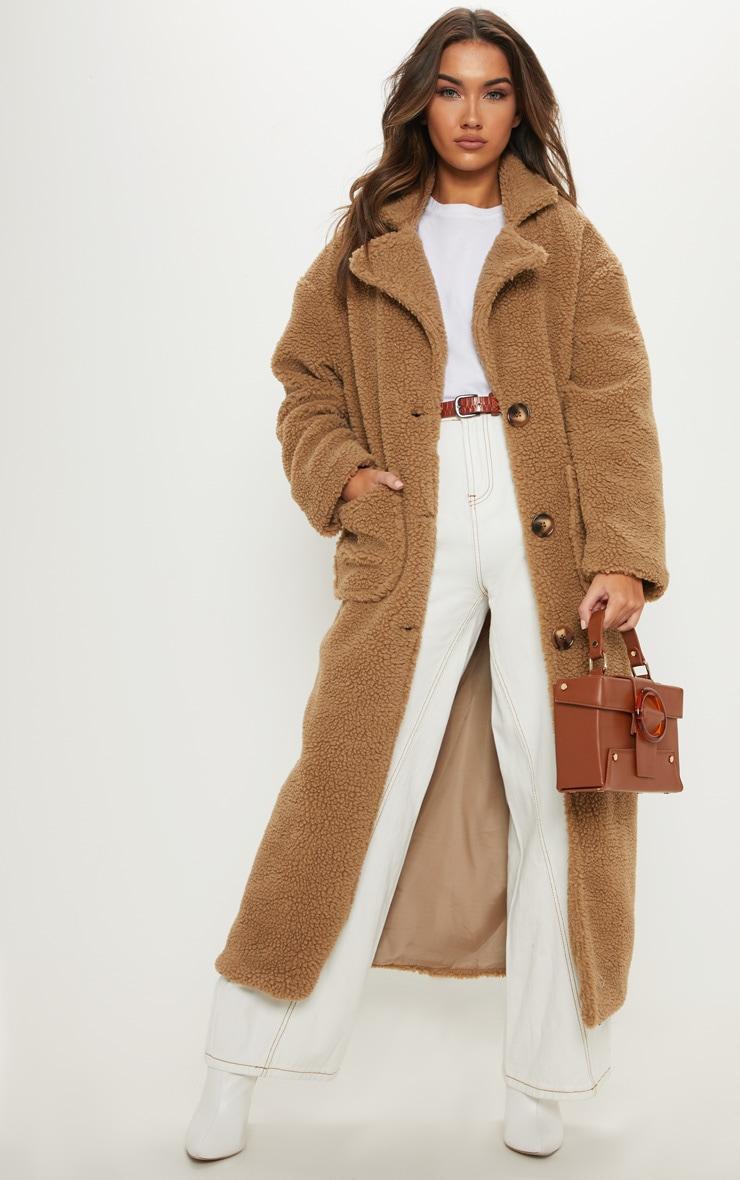 profiter de la livraison gratuite courir chaussures pas cher à vendre Manteau long camel en faux-mouton