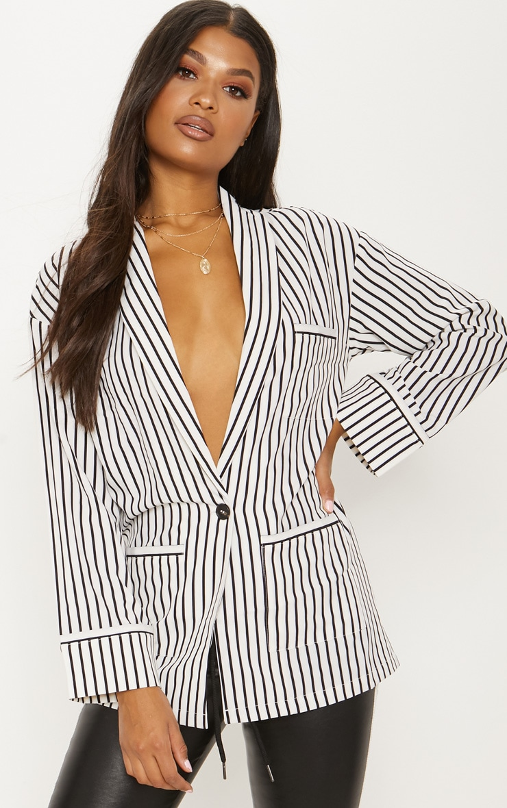 White Striped Satin Blazer