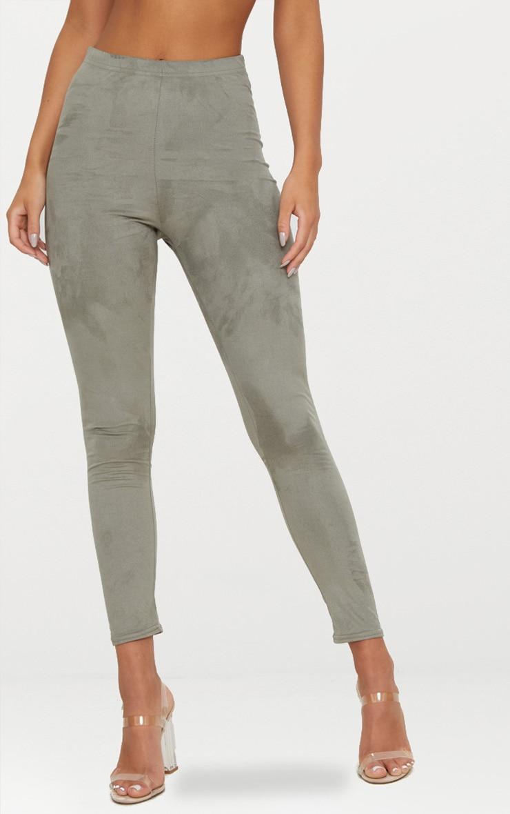 Khaki Faux Suede Skinny Trousers 2