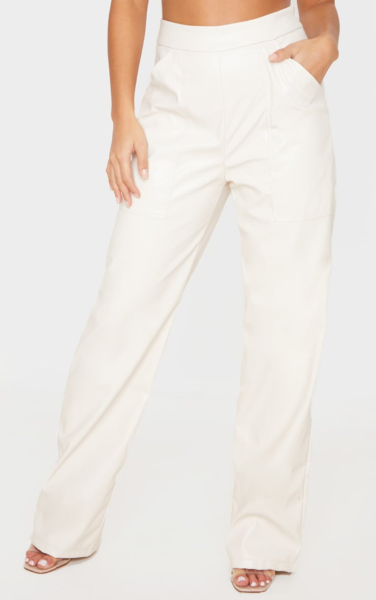 Petite Cream Pocket Detail PU Straight Leg Pants 2