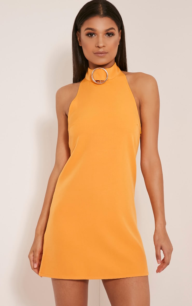 Hamza Bright Orange Ring Detail Backless Shift Dress 1