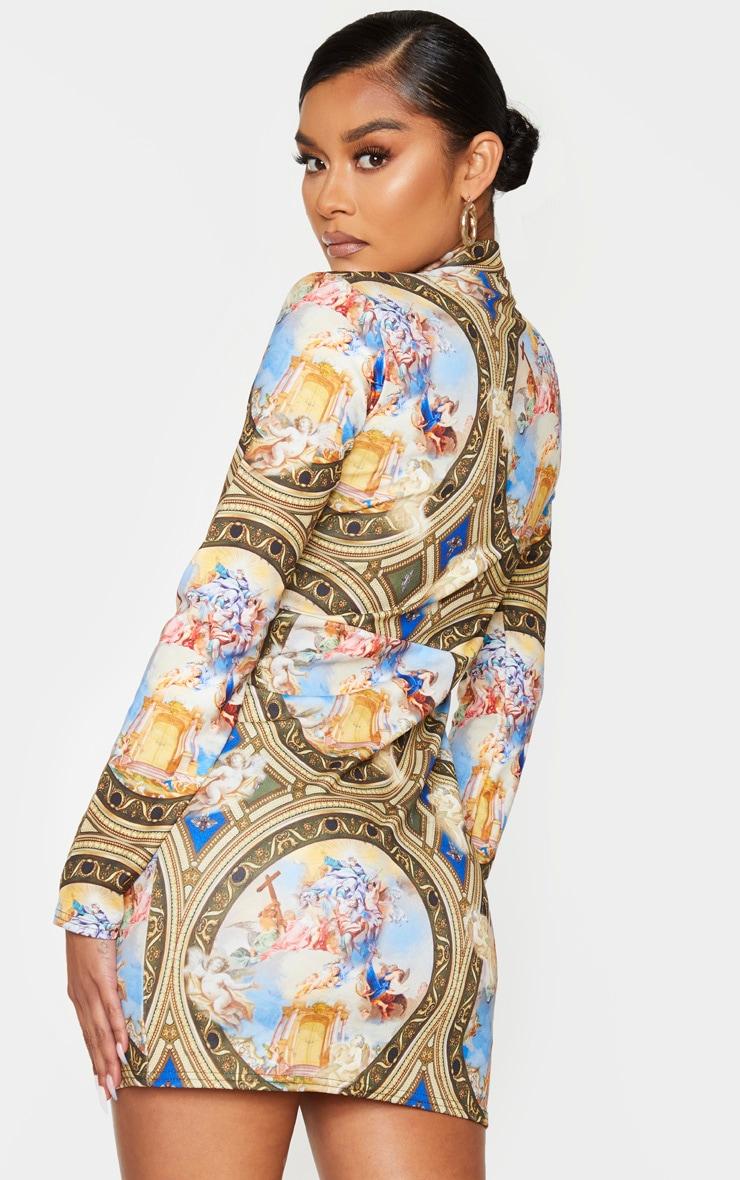 Multi Renaissance Print High Neck Long Sleeve Split Hem Bodycon Dress 2
