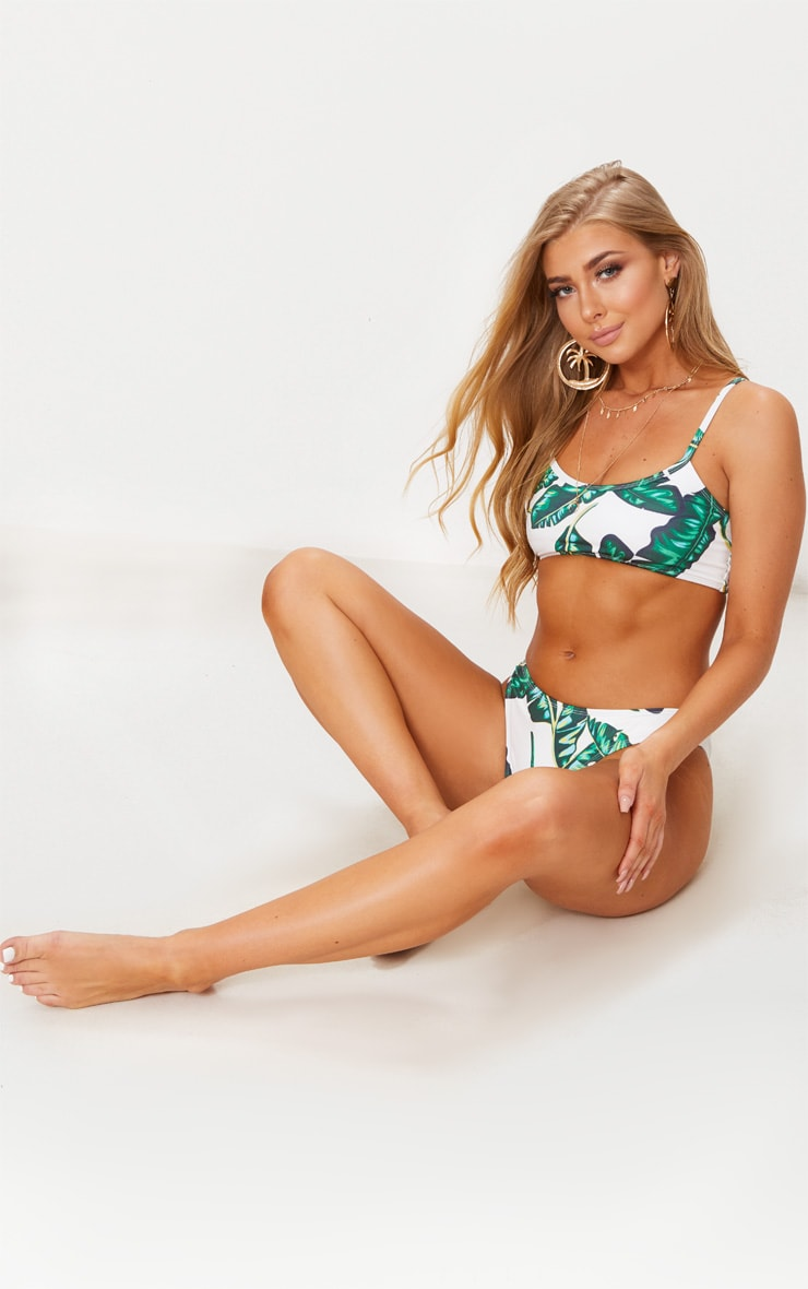 Green Palm Print Low Scoop Neck Bikini Top 4