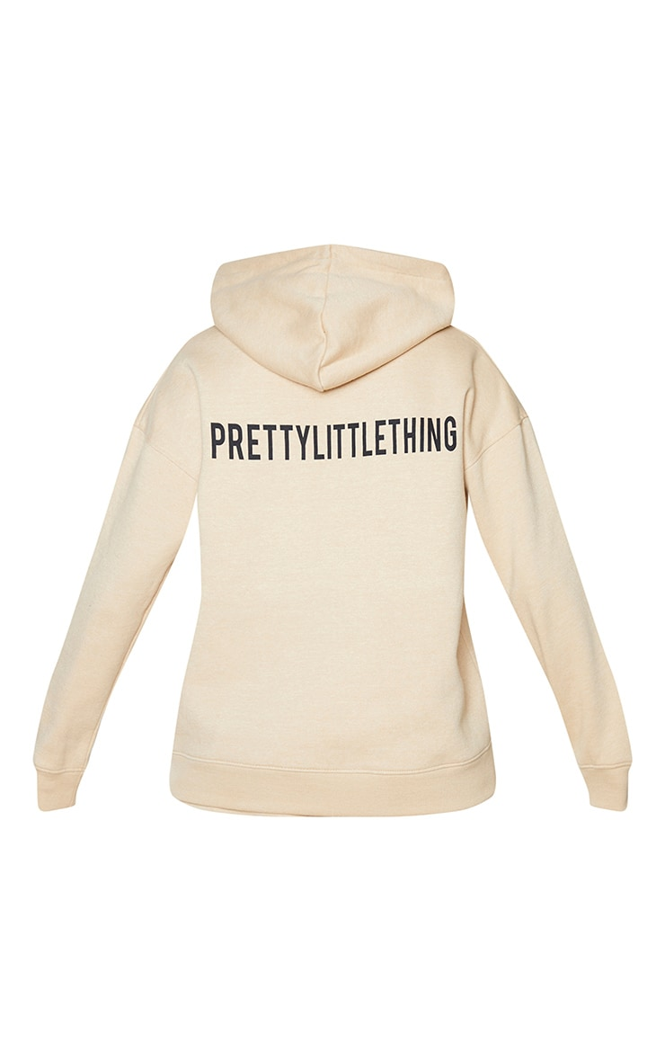 PRETTYLITTLETHING Stone Slogan Oversized Pocket Hoodie 6
