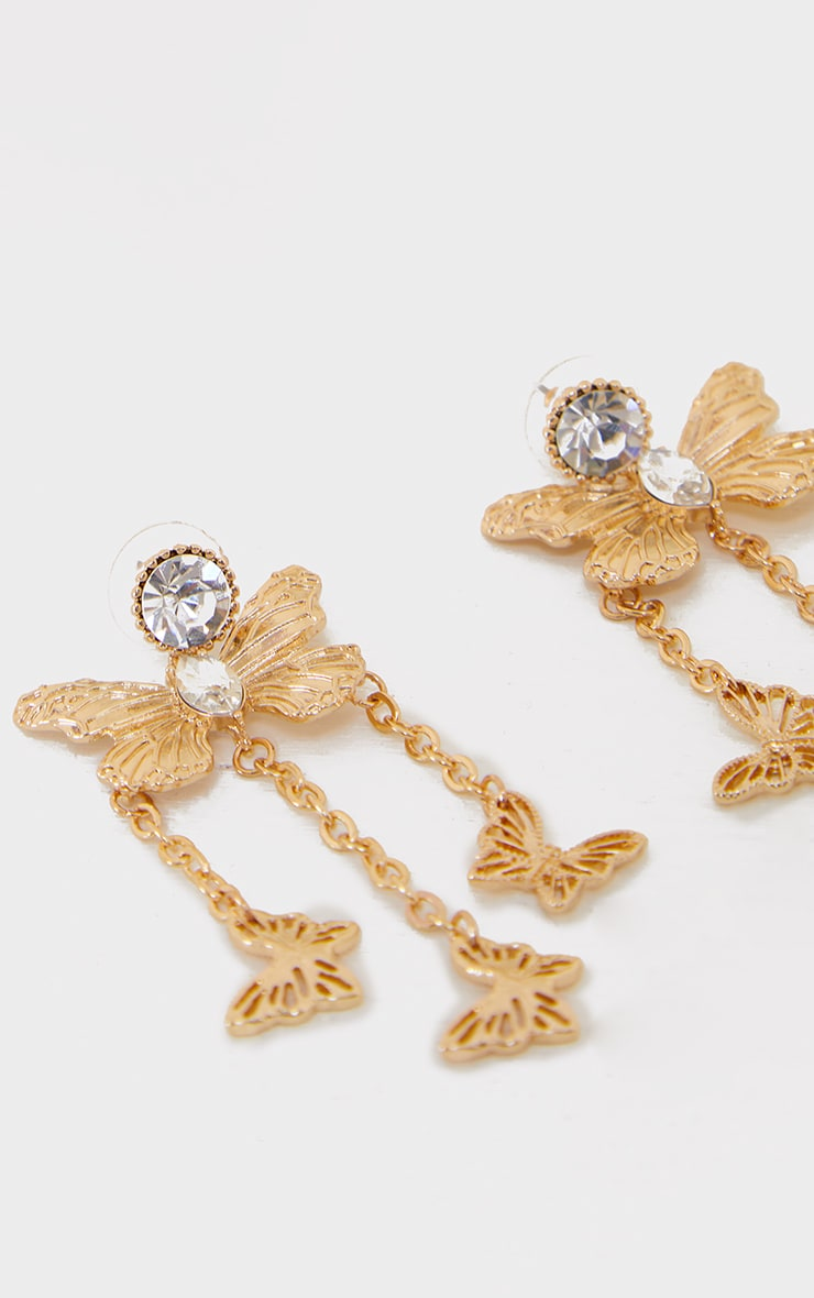 Gold Diamante Jewel Butterfly Tassel Earrings 3