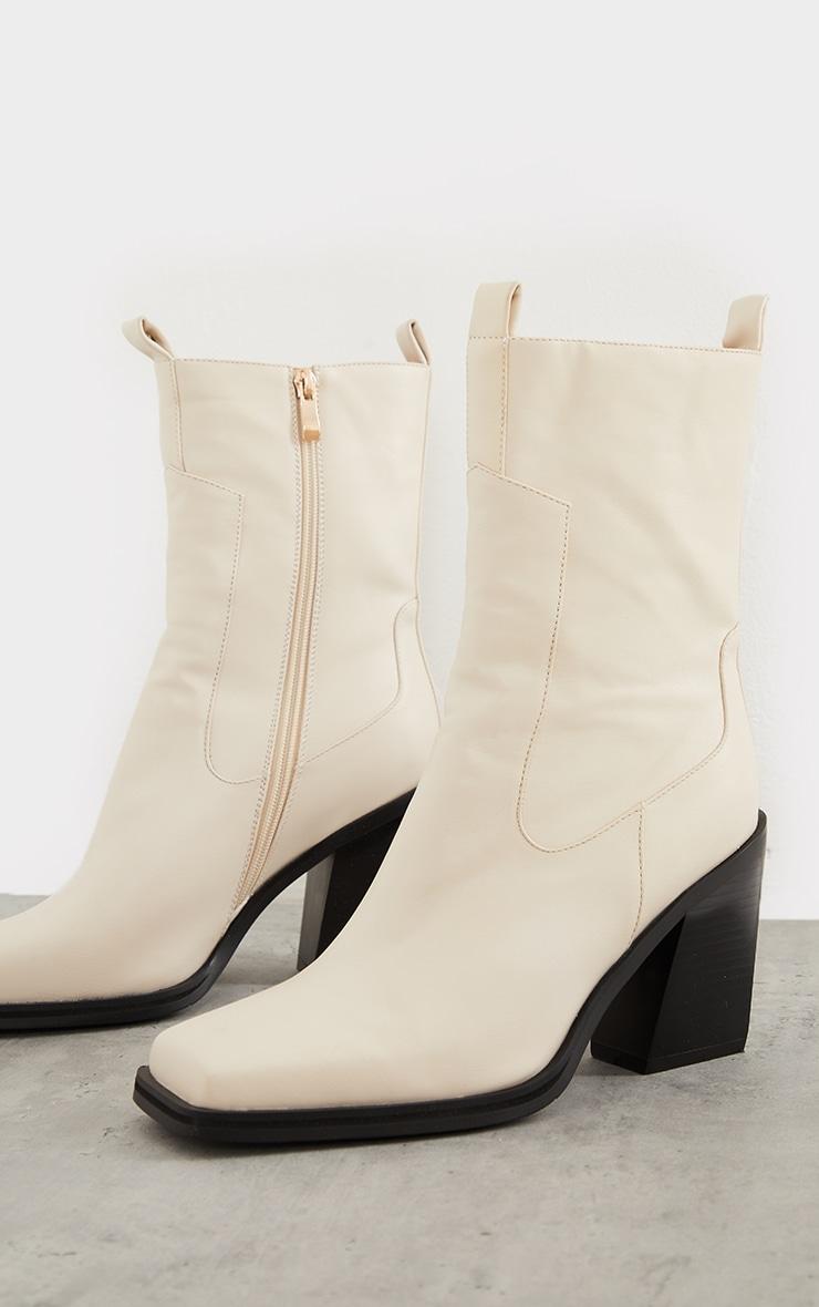 Cream PU Square Toe Western Boots 3