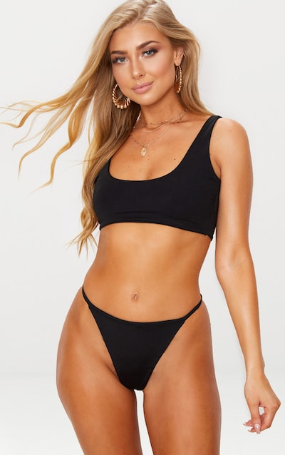 Black Mix   Match String Thong Bikini Bottom f38848eefec7
