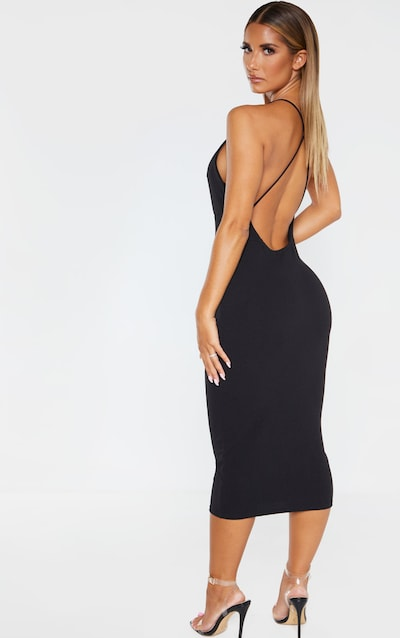 Black Strappy Back Plunge Midi Dress