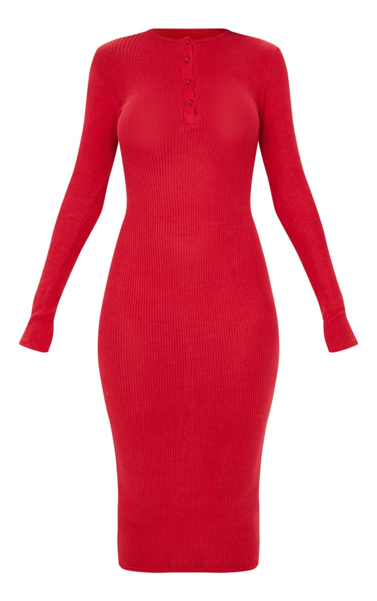 Scarlet Brushed Rib Button Front Midaxi Dress 3