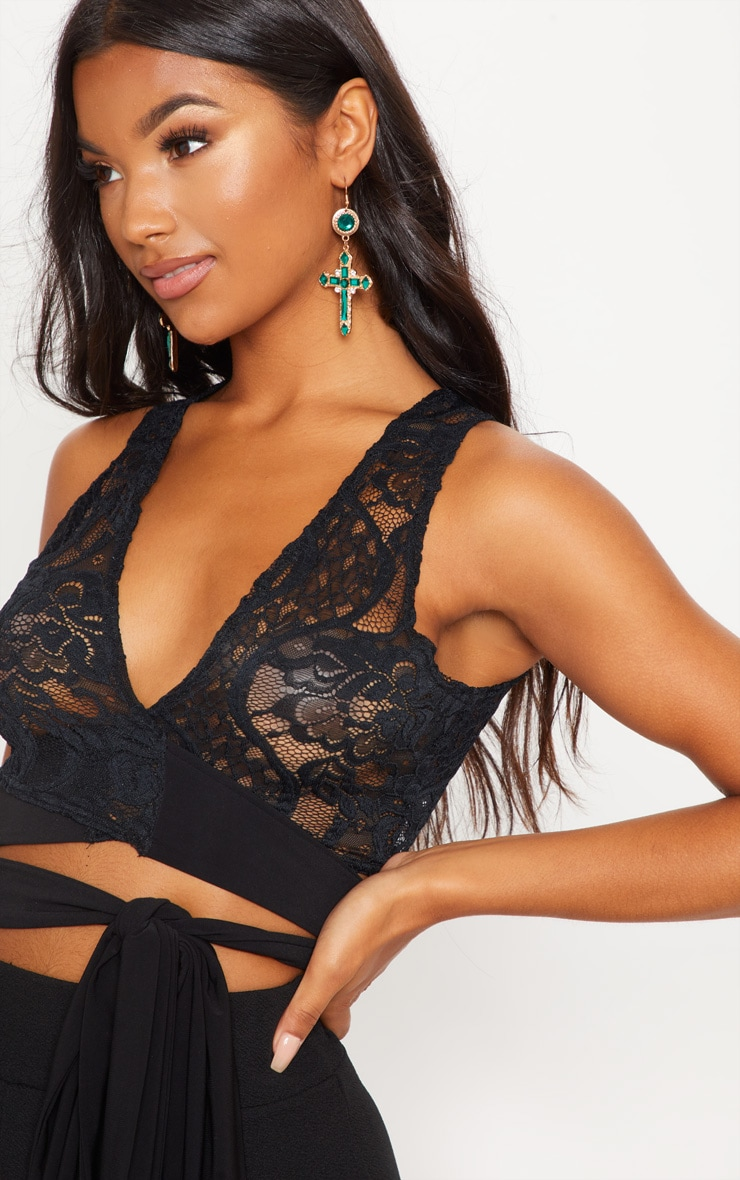 Black Wrap Lace Crop Top 5