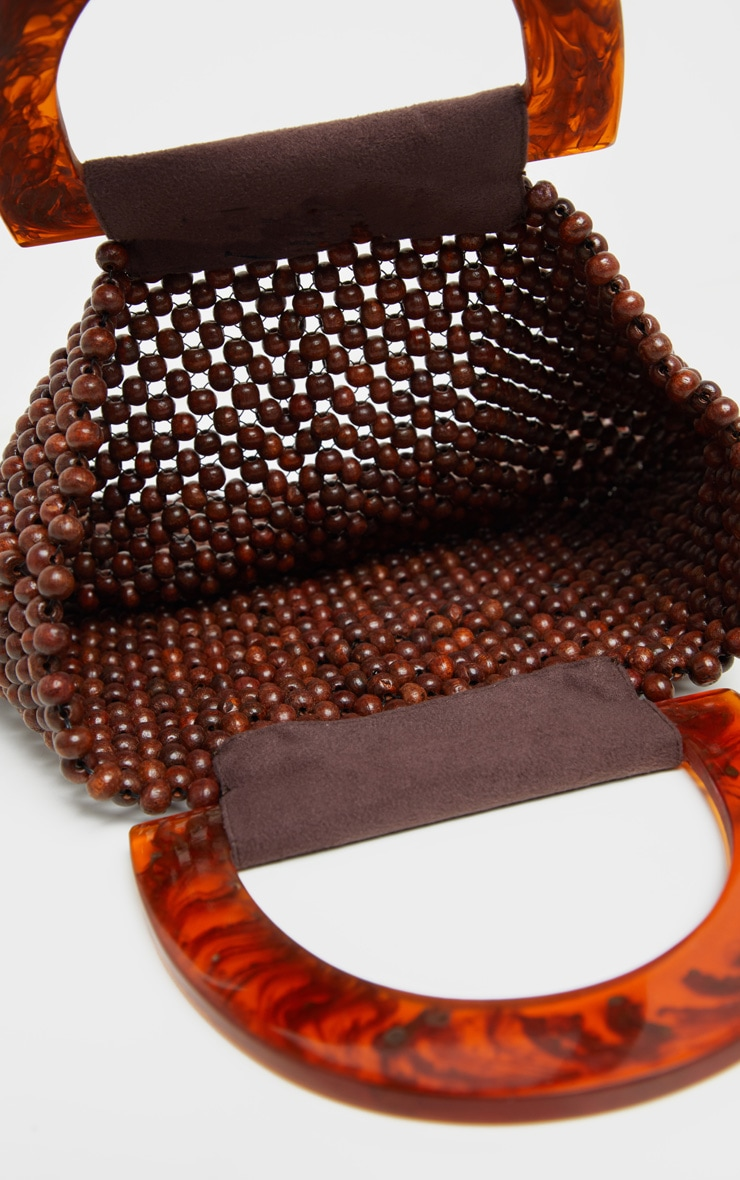 Brown Beaded Mini Bag With Tortoiseshell Handle Mini Bag 3