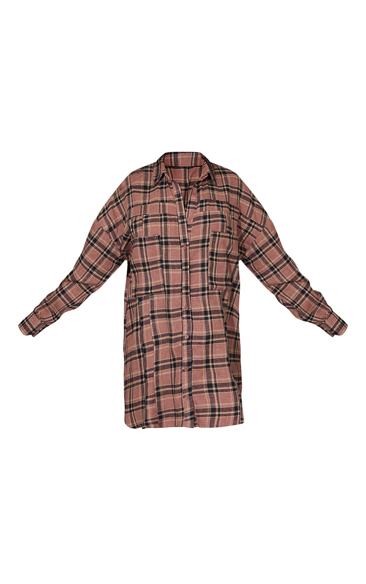 Chocolate Check Flannel Button Up Oversized Shirt Dress 5