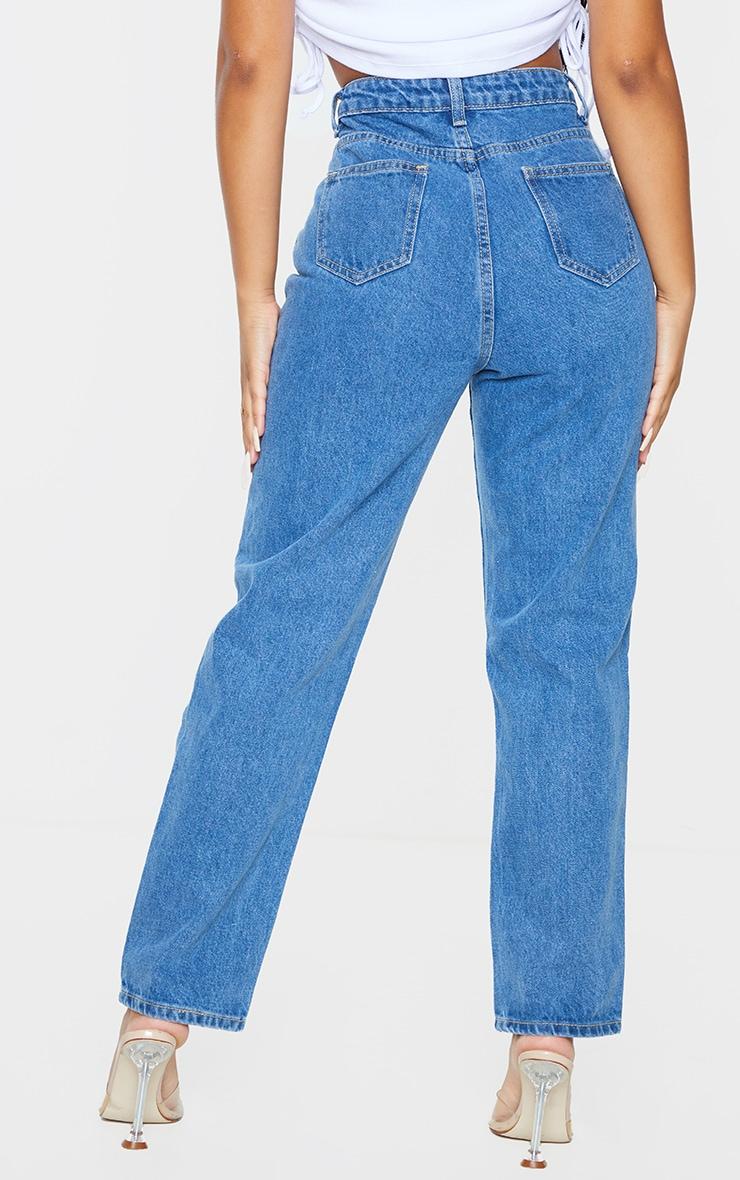 PRETTYLITTLETHING Petite Mid Blue Straight Leg Jeans 3