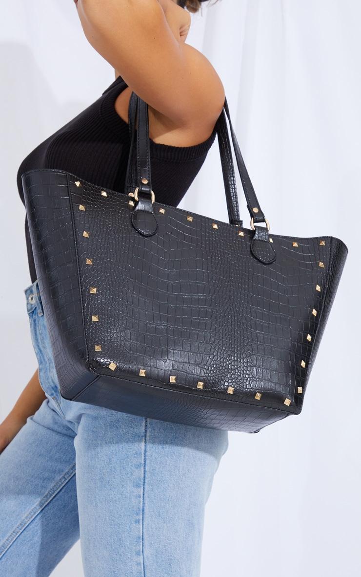 Black Croc Gold Studded Tote Bag 1