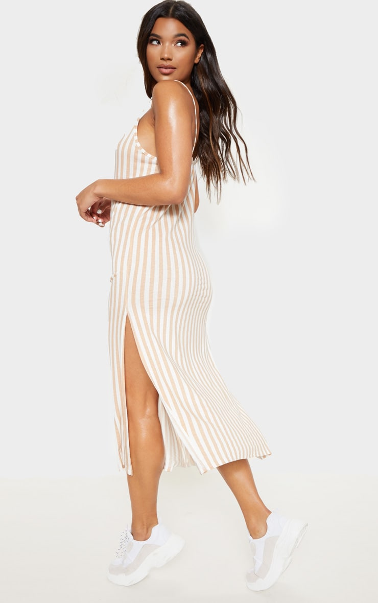 Camel Stripe Jersey Split Midi Dress 2
