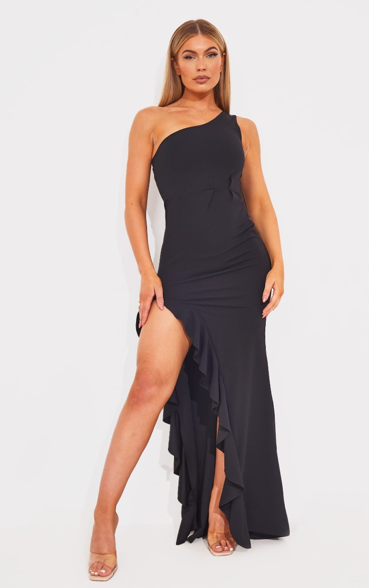 Black One Shoulder Ruffle Hem Maxi Dress 1